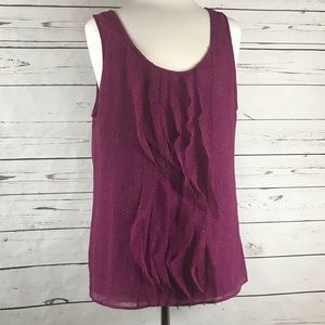 3/$20 Gap Sleeveless Blouse Purple Ruffle Front L